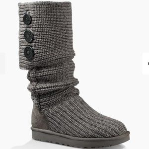 UGG Classic Cardy Knit Boots Grey Silver